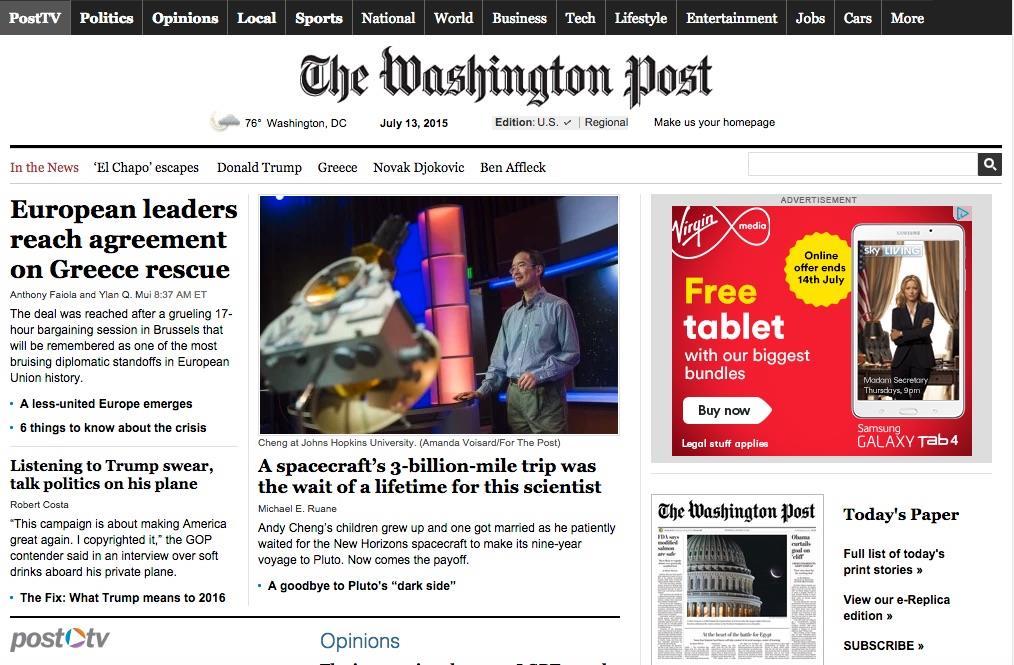 Washington Post homepage ()