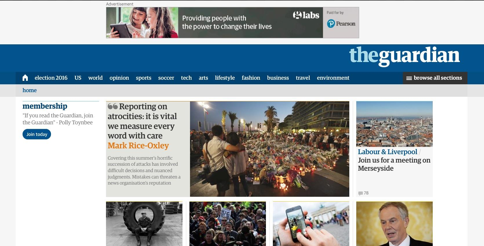 The Guardian homepage ()