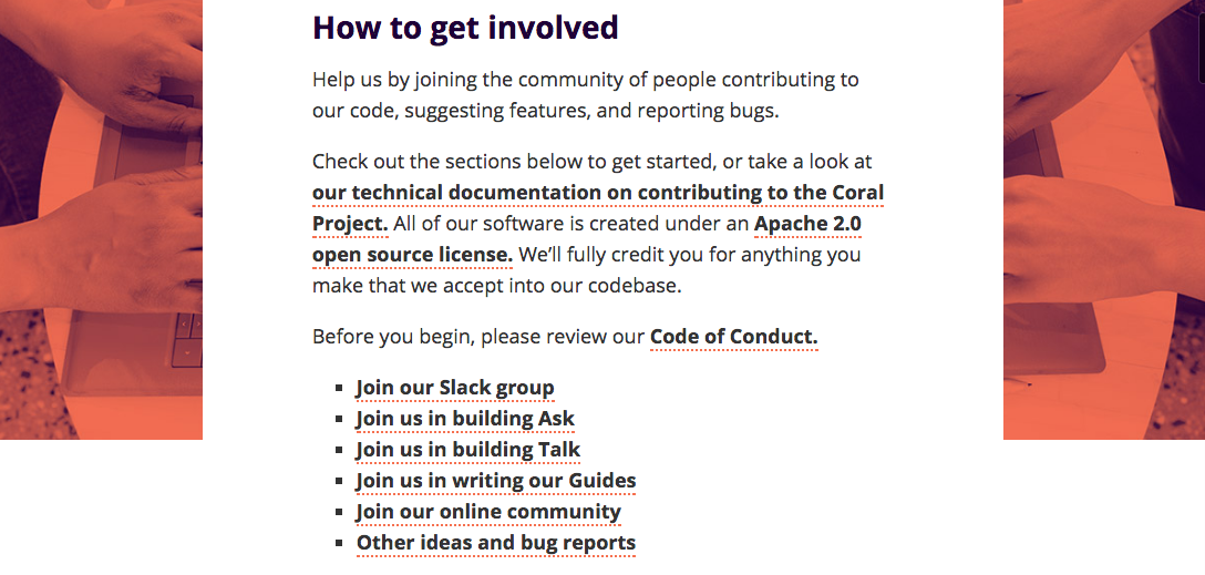 The Coral Project How to get involved. ()