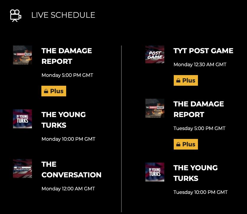 TYT live schedule ()